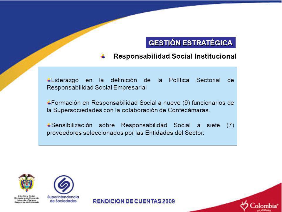 RENDICIÓN DE CUENTAS 2009 Liderazgo en la definición de la Política Sectorial de Responsabilidad Social Empresarial Formación en Responsabilidad Socia