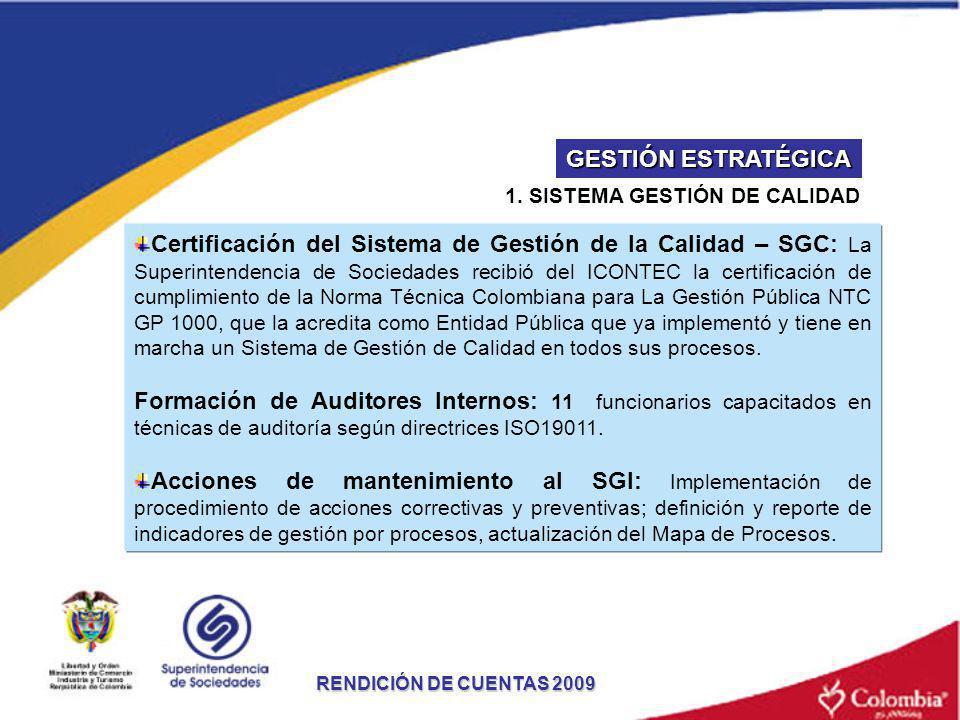 1. SISTEMA GESTIÓN DE CALIDAD RENDICIÓN DE CUENTAS 2009 Certificación del Sistema de Gestión de la Calidad – SGC: La Superintendencia de Sociedades re