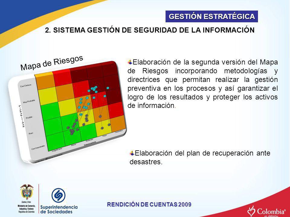 RENDICIÓN DE CUENTAS 2009 Mapa de Riesgos 2. SISTEMA GESTIÓN DE SEGURIDAD DE LA INFORMACIÓN Elaboración de la segunda versión del Mapa de Riesgos inco