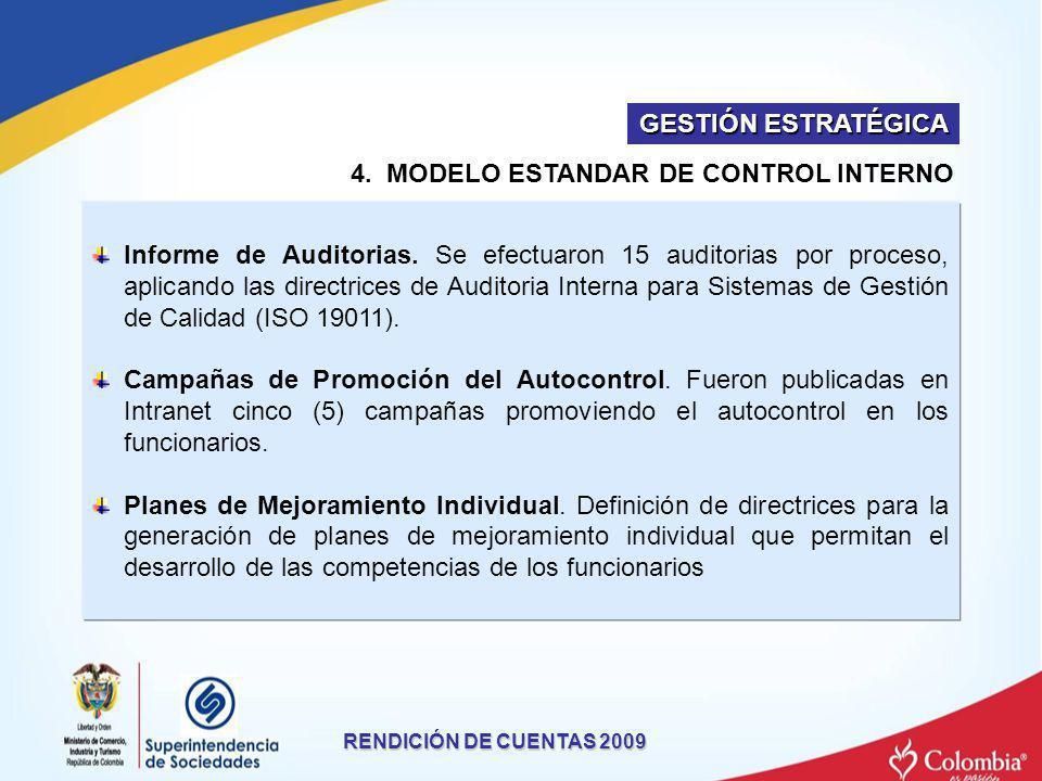 4. MODELO ESTANDAR DE CONTROL INTERNO RENDICIÓN DE CUENTAS 2009 Informe de Auditorias. Se efectuaron 15 auditorias por proceso, aplicando las directri