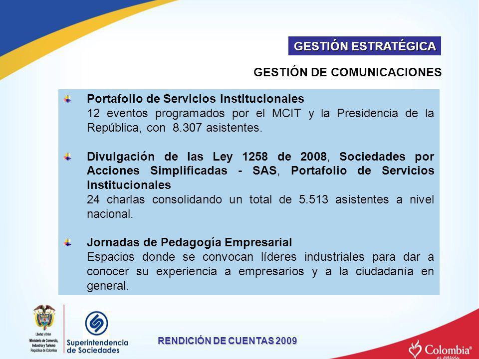 GESTIÓN DE COMUNICACIONES RENDICIÓN DE CUENTAS 2009 Portafolio de Servicios Institucionales 12 eventos programados por el MCIT y la Presidencia de la