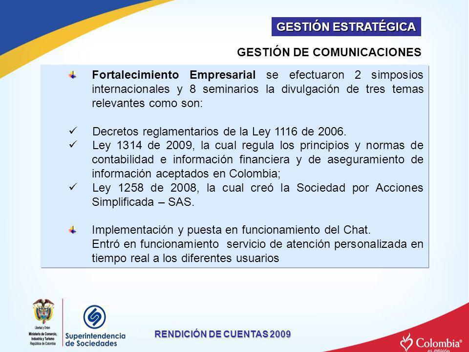 RENDICIÓN DE CUENTAS 2009 Fortalecimiento Empresarial se efectuaron 2 simposios internacionales y 8 seminarios la divulgación de tres temas relevantes