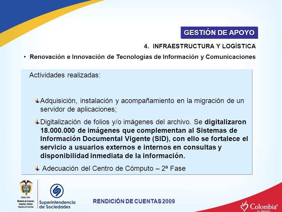 Renovación e Innovación de Tecnologías de Información y Comunicaciones Actividades realizadas: Adquisición, instalación y acompañamiento en la migraci