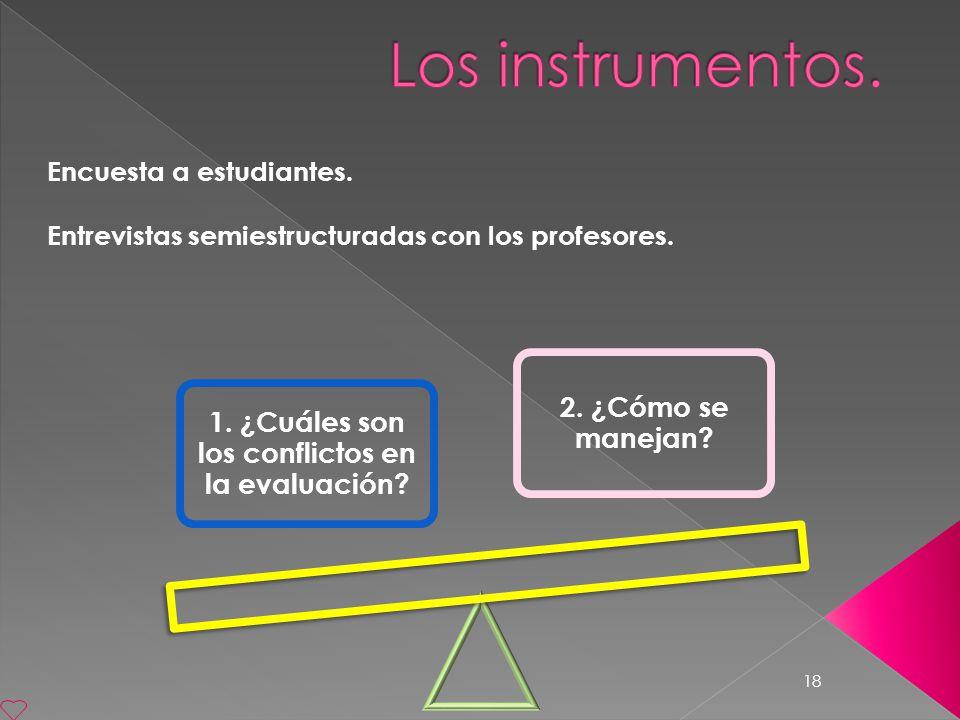 18 Encuesta a estudiantes. Entrevistas semiestructuradas con los profesores. 1. ¿Cuáles son los conflictos en la evaluación? 2. ¿Cómo se manejan?