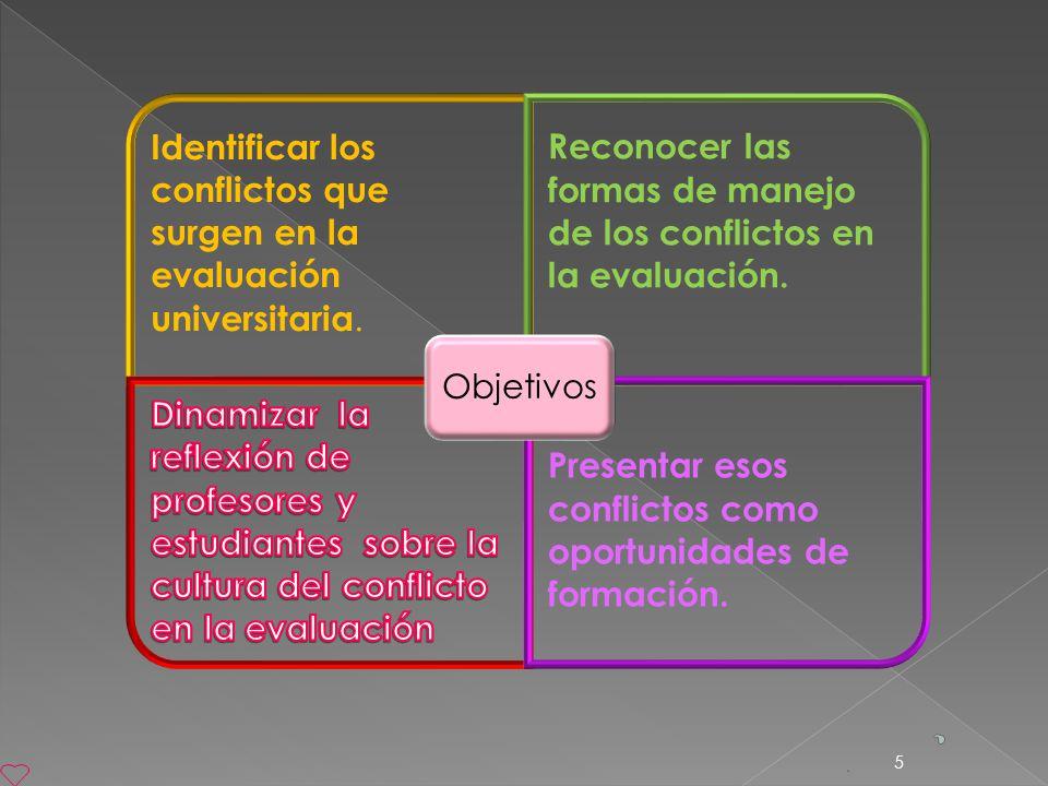 5 Identificar los conflictos que surgen en la evaluación universitaria. Reconocer las formas de manejo de los conflictos en la evaluación. Presentar e
