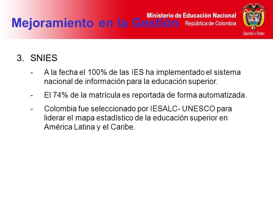 Ministerio de Educación Nacional República de Colombia 3.SNIES -A la fecha el 100% de las IES ha implementado el sistema nacional de información para la educación superior.
