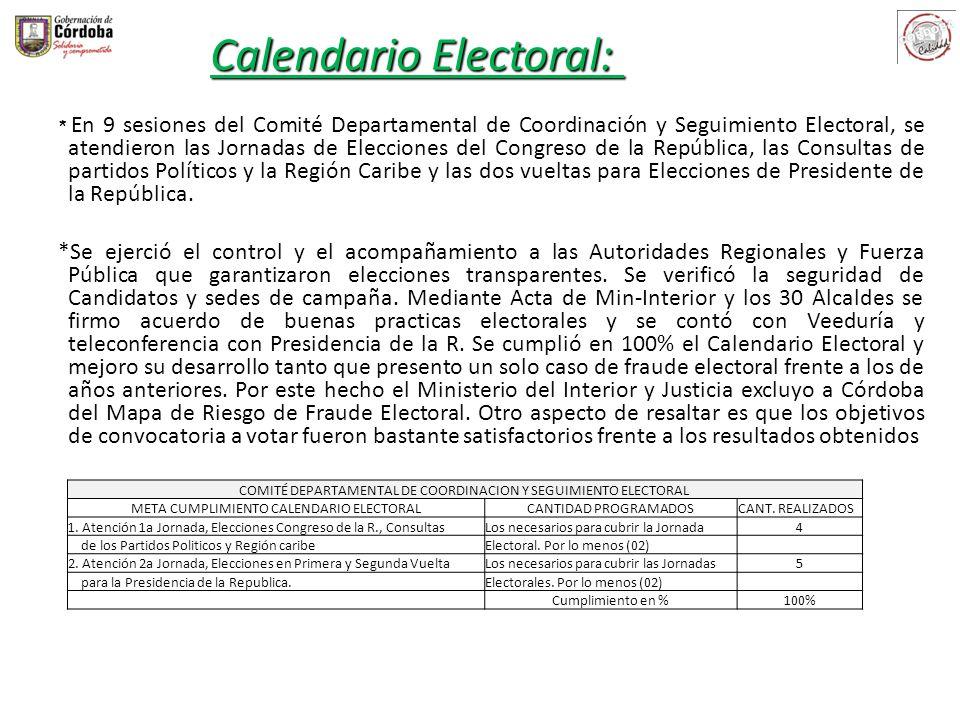 * En 9 sesiones del Comité Departamental de Coordinación y Seguimiento Electoral, se atendieron las Jornadas de Elecciones del Congreso de la Repúblic