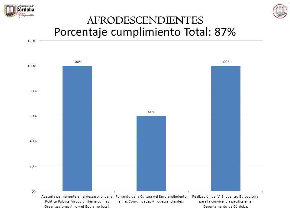 AFRODESCENDIENTES Porcentaje cumplimiento Total: 87%