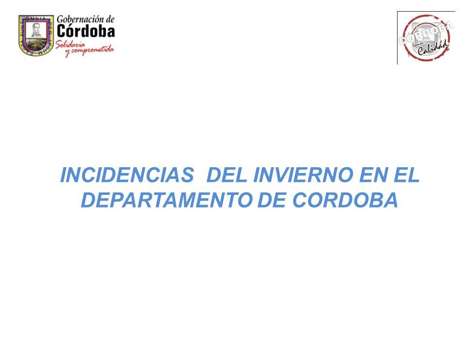 INCIDENCIAS DEL INVIERNO EN EL DEPARTAMENTO DE CORDOBA