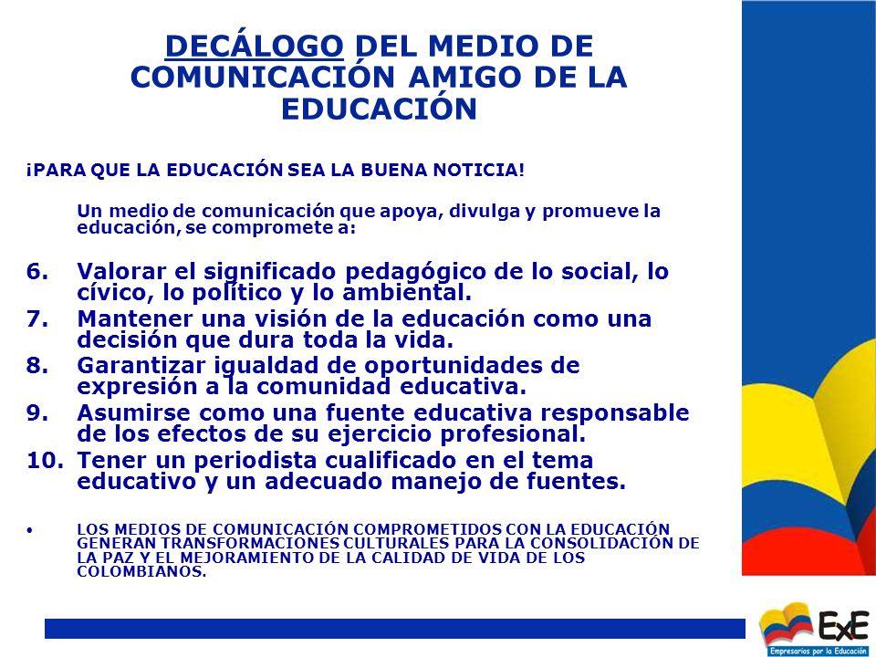 DECÁLOGO DEL MEDIO DE COMUNICACIÓN AMIGO DE LA EDUCACIÓN ¡PARA QUE LA EDUCACIÓN SEA LA BUENA NOTICIA.