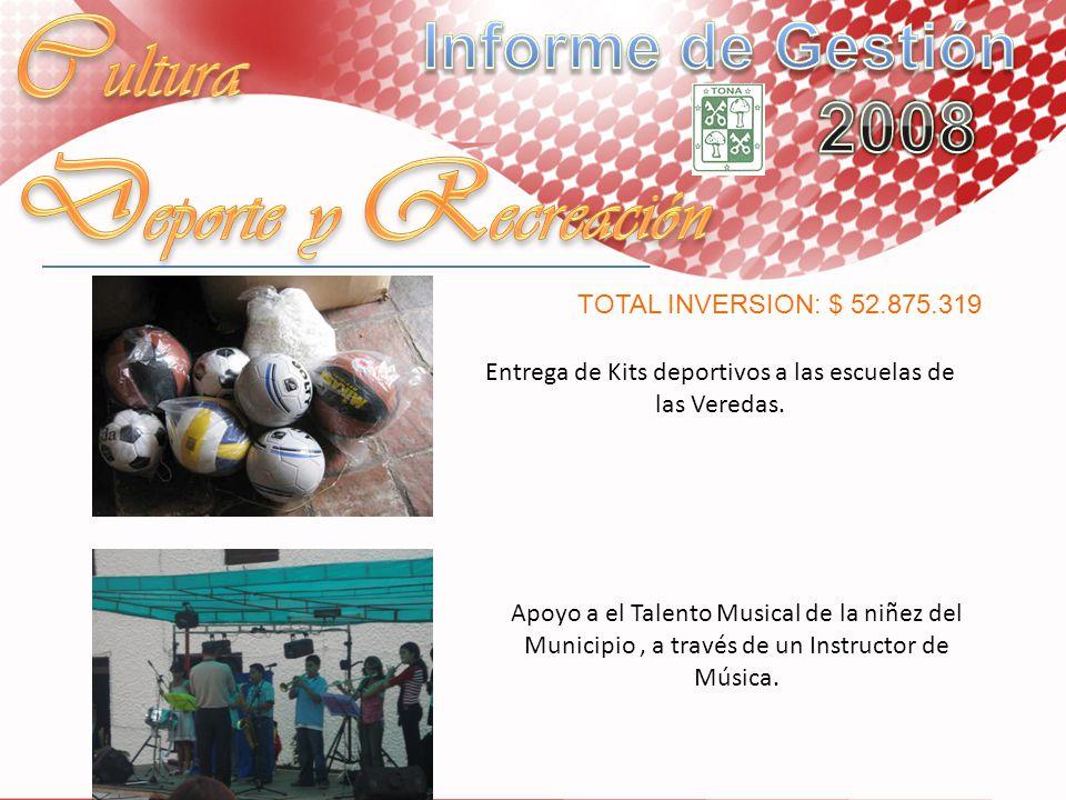 Entrega de Kits deportivos a las escuelas de las Veredas. Apoyo a el Talento Musical de la niñez del Municipio, a través de un Instructor de Música. T