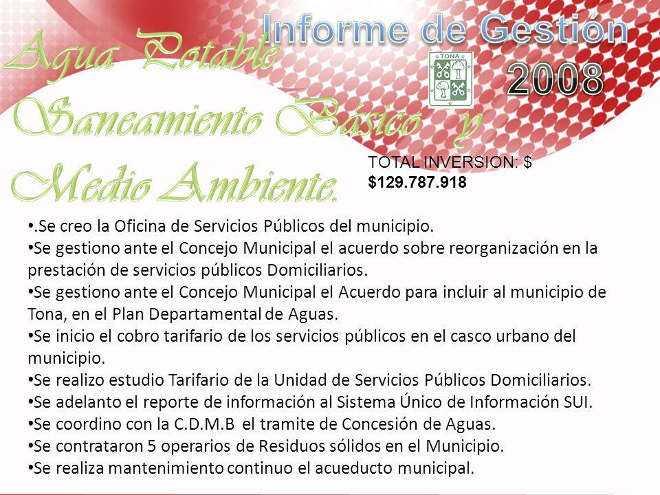 .Se creo la Oficina de Servicios Públicos del municipio. Se gestiono ante el Concejo Municipal el acuerdo sobre reorganización en la prestación de ser