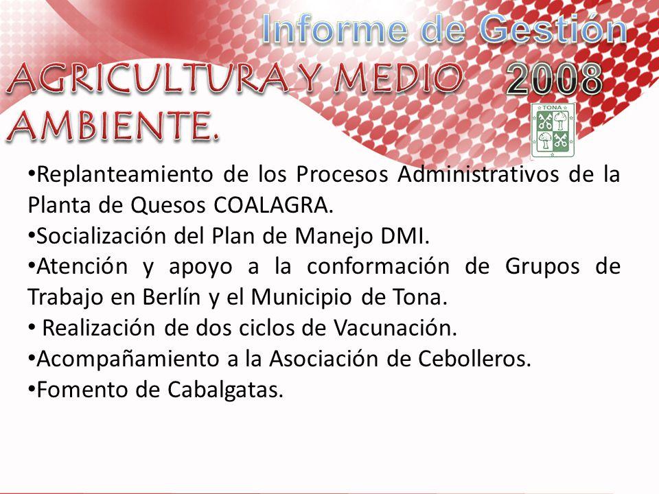 Replanteamiento de los Procesos Administrativos de la Planta de Quesos COALAGRA. Socialización del Plan de Manejo DMI. Atención y apoyo a la conformac