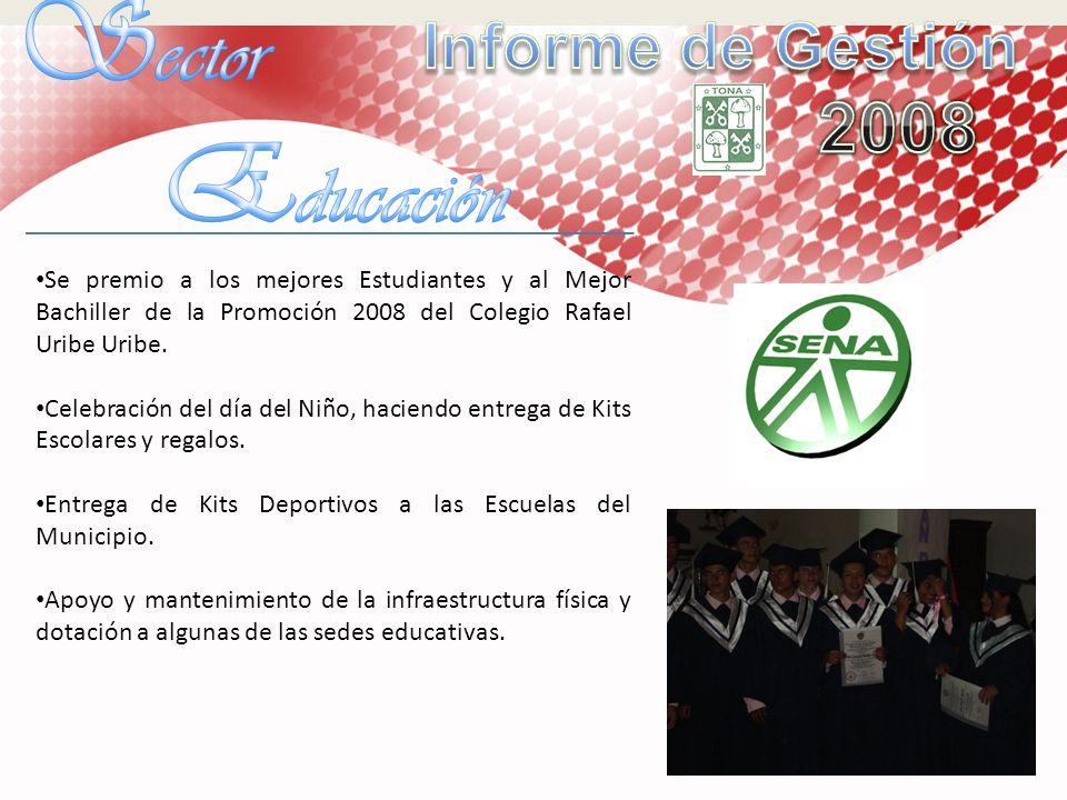 Se premio a los mejores Estudiantes y al Mejor Bachiller de la Promoción 2008 del Colegio Rafael Uribe Uribe. Celebración del día del Niño, haciendo e