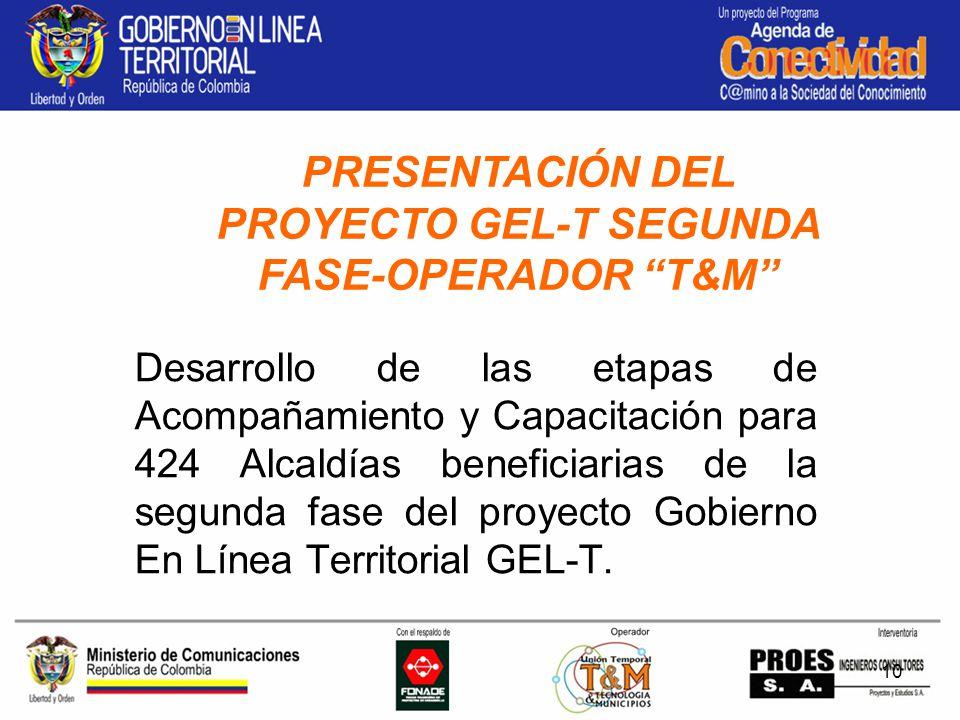 10 Desarrollo de las etapas de Acompañamiento y Capacitación para 424 Alcaldías beneficiarias de la segunda fase del proyecto Gobierno En Línea Territorial GEL-T.