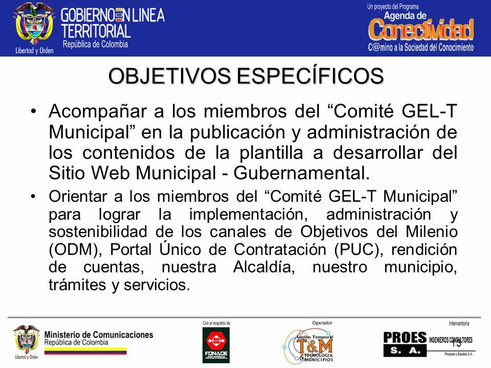 13 Acompañar a los miembros del Comité GEL-T Municipal en la publicación y administración de los contenidos de la plantilla a desarrollar del Sitio Web Municipal - Gubernamental.