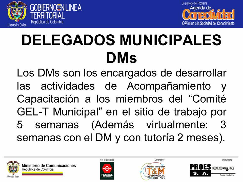 24 DELEGADOS MUNICIPALES DMs Los DMs son los encargados de desarrollar las actividades de Acompañamiento y Capacitación a los miembros del Comité GEL-T Municipal en el sitio de trabajo por 5 semanas (Además virtualmente: 3 semanas con el DM y con tutoría 2 meses).