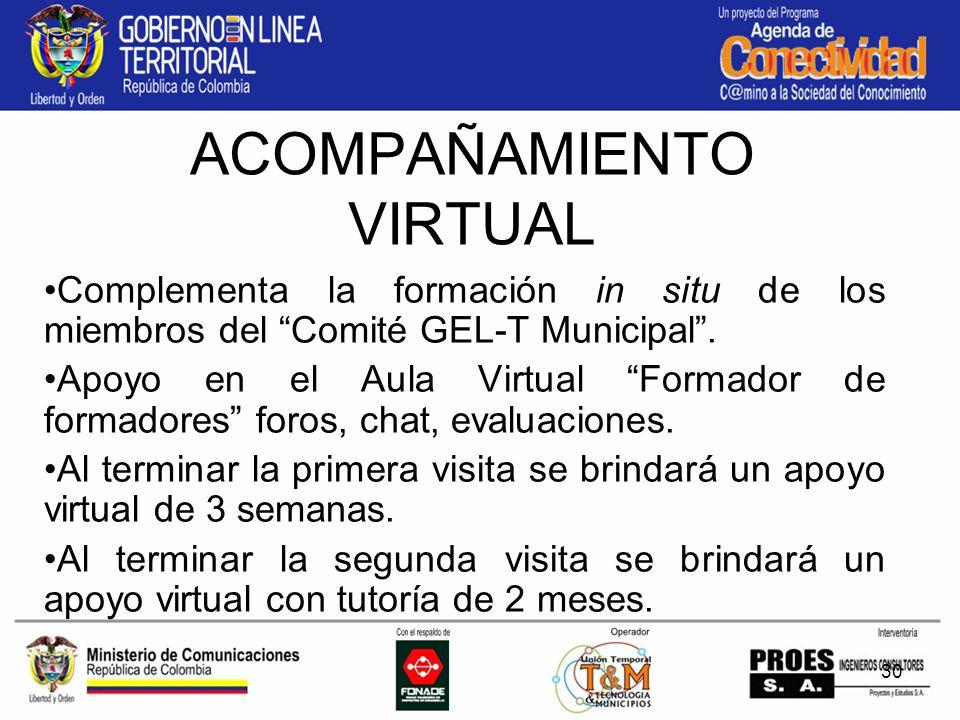 30 ACOMPAÑAMIENTO VIRTUAL Complementa la formación in situ de los miembros del Comité GEL-T Municipal.