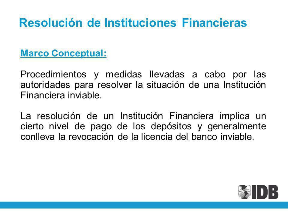 Marco Conceptual: Procedimientos y medidas llevadas a cabo por las autoridades para resolver la situación de una Institución Financiera inviable. La r