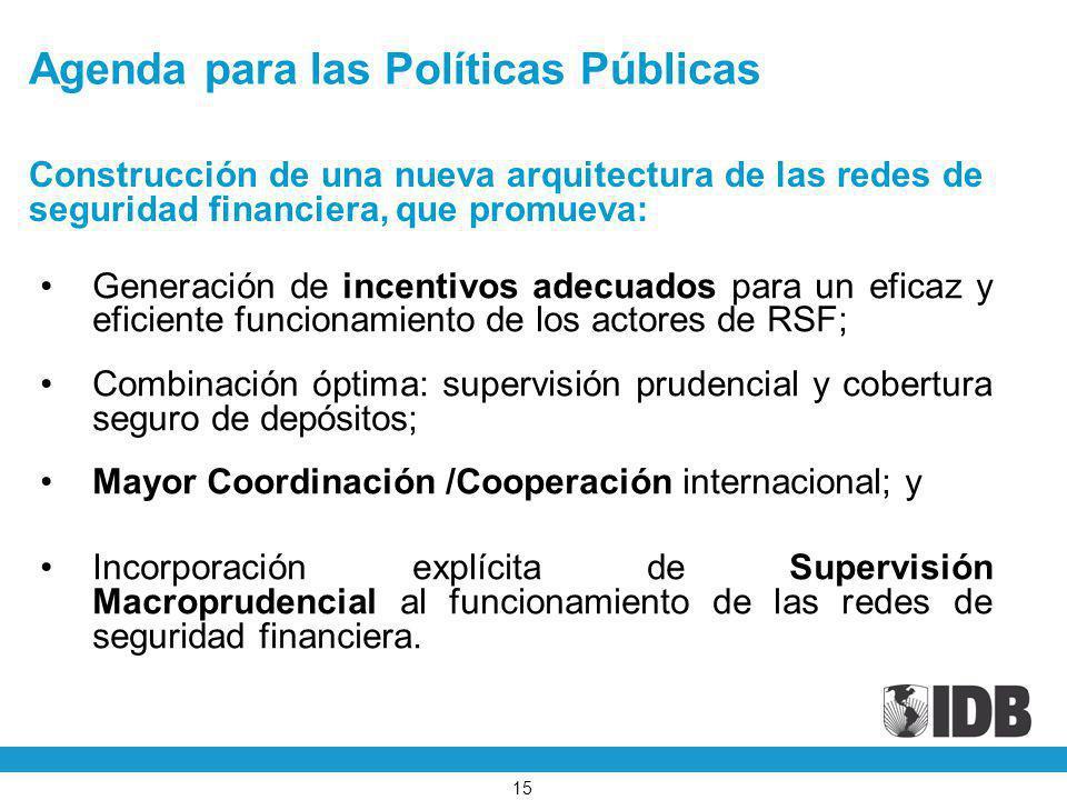 Agenda para las Políticas Públicas Generación de incentivos adecuados para un eficaz y eficiente funcionamiento de los actores de RSF; Combinación ópt
