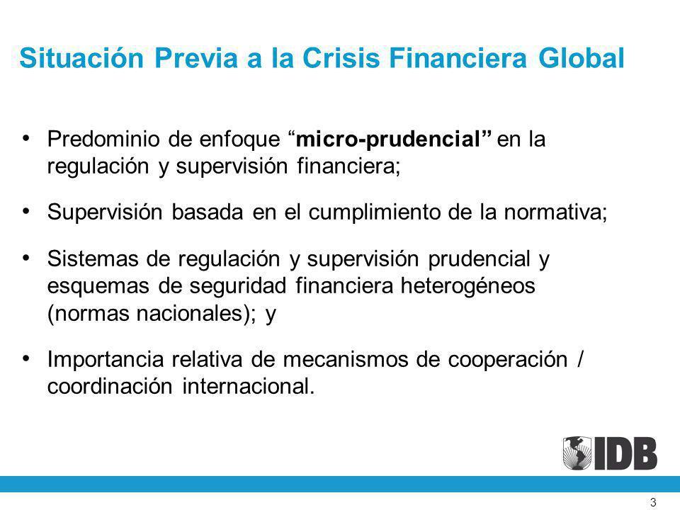 3 Situación Previa a la Crisis Financiera Global Predominio de enfoque micro-prudencial en la regulación y supervisión financiera; Supervisión basada