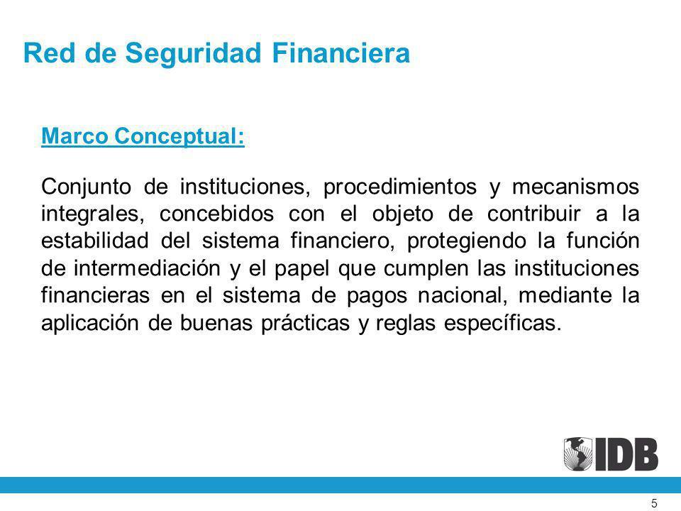 5 Red de Seguridad Financiera Marco Conceptual: Conjunto de instituciones, procedimientos y mecanismos integrales, concebidos con el objeto de contrib