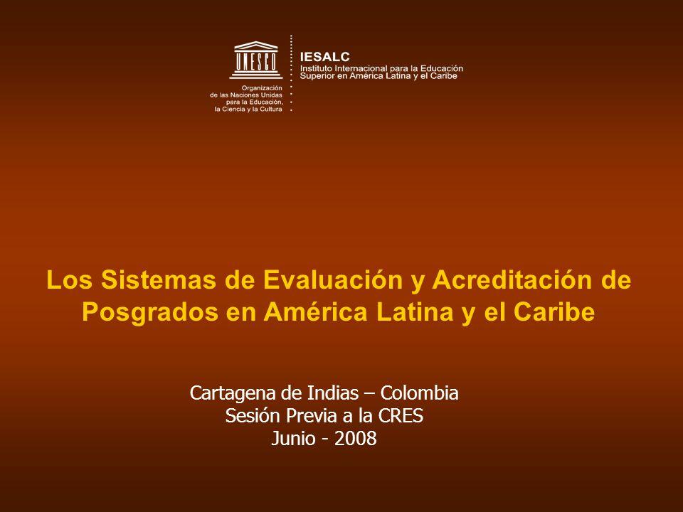 CRES-2008 Metas a Mediano y Largo Plazo (cont.) Creación de un sistema regional de evaluación y acreditación de calidad que respete la diversidad y que promueva el avance de los postgrados en la Región; Planteamiento de un amplio programa latinoamericano y caribeño de movilidad de postgrado; Creación de doctorados compartidos en temas estratégicos para el desarrollo sustentable de los países y de la región.