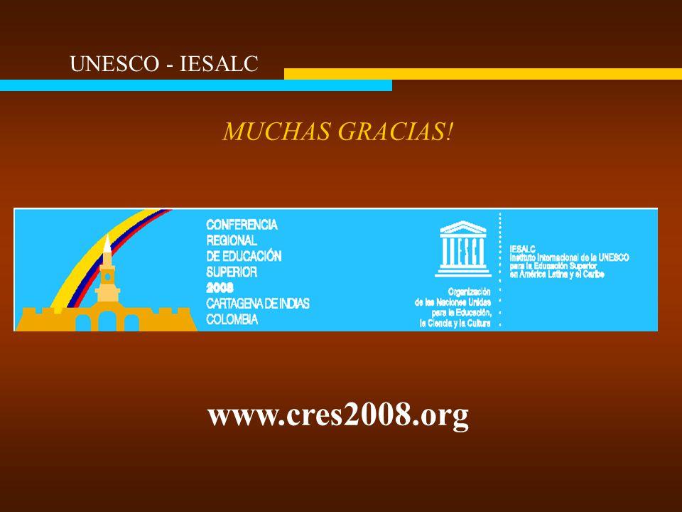 MUCHAS GRACIAS! www.cres2008.org UNESCO - IESALC