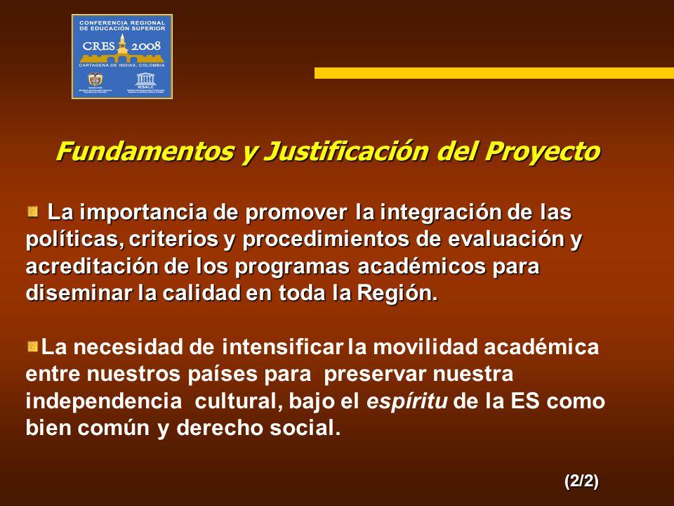 Fundamentos y Justificación del Proyecto La importancia de promover la integración de las políticas, criterios y procedimientos de evaluación y acredi