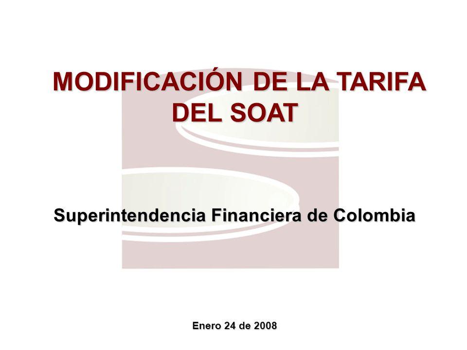 MODIFICACIÓN DE LA TARIFA DEL SOAT MODIFICACIÓN DE LA TARIFA DEL SOAT Superintendencia Financiera de Colombia Enero 24 de 2008