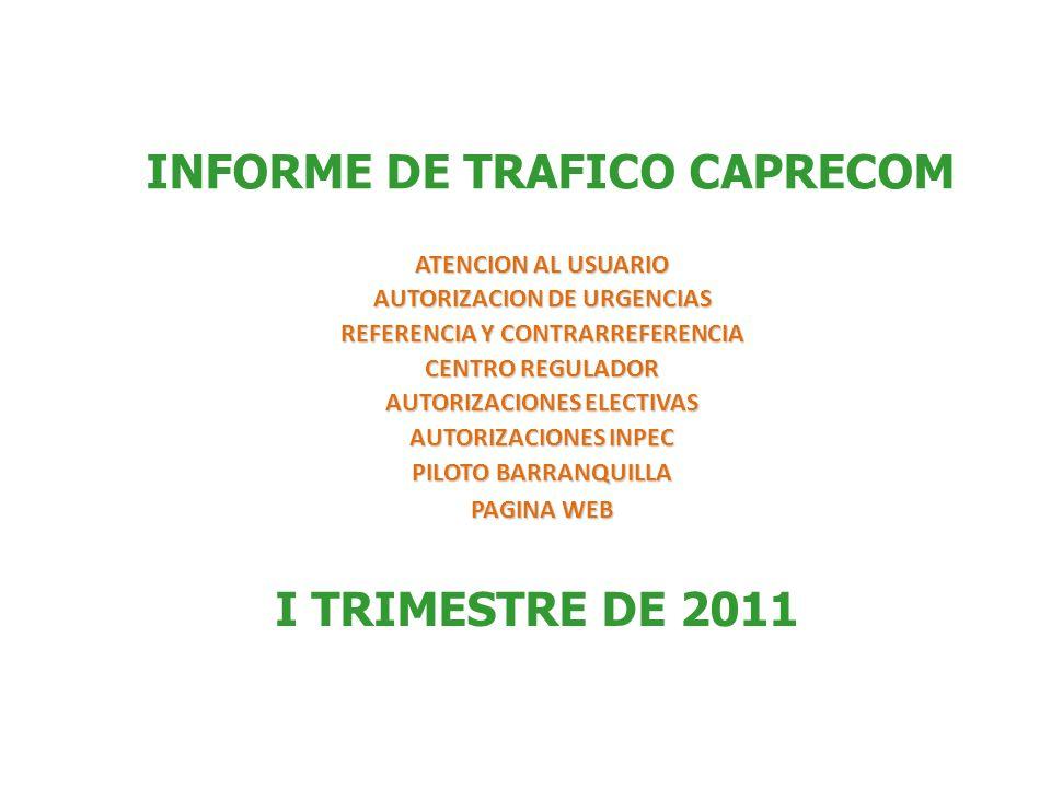 ATENCION AL USUARIO AUTORIZACION DE URGENCIAS REFERENCIA Y CONTRARREFERENCIA CENTRO REGULADOR AUTORIZACIONES ELECTIVAS AUTORIZACIONES INPEC PILOTO BARRANQUILLA PAGINA WEB INFORME DE TRAFICO CAPRECOM I TRIMESTRE DE 2011