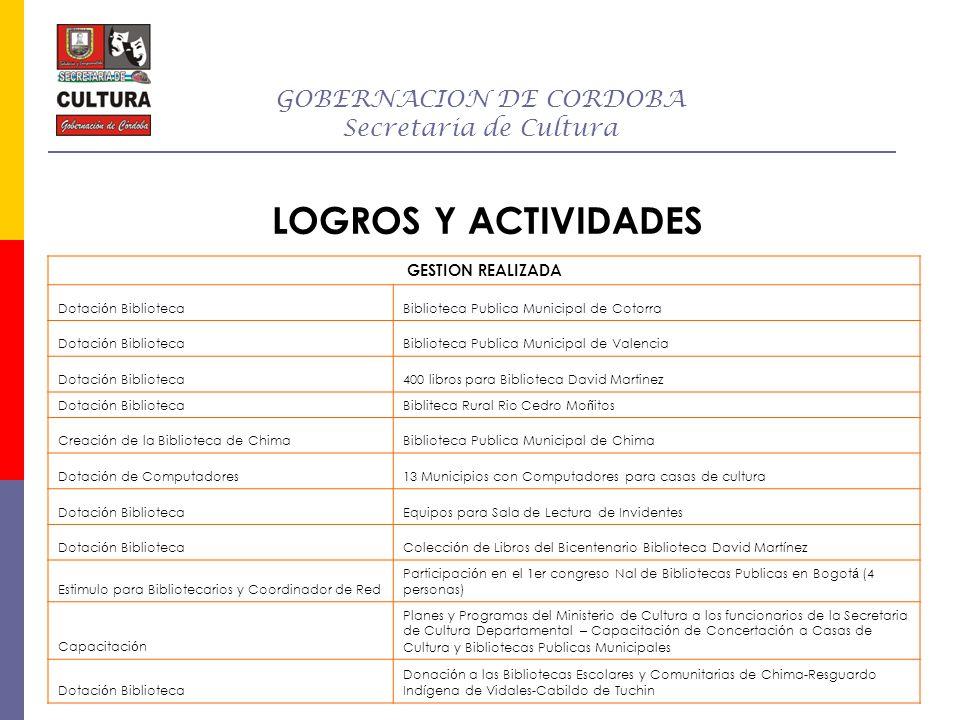 GOBERNACION DE CORDOBA Secretaria de Cultura LOGROS Y ACTIVIDADES GESTION REALIZADA Dotaci ó n BibliotecaBiblioteca Publica Municipal de Cotorra Dotac