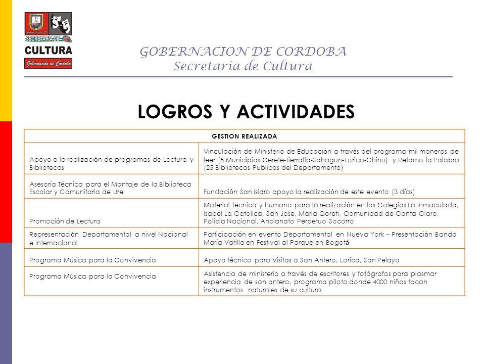 GOBERNACION DE CORDOBA Secretaria de Cultura LOGROS Y ACTIVIDADES GESTION REALIZADA Apoyo a la realizaci ó n de programas de Lectura y Bibliotecas Vin