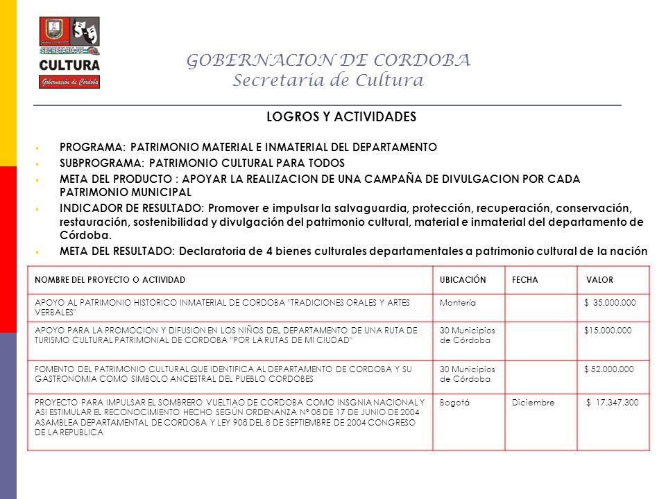 GOBERNACION DE CORDOBA Secretaria de Cultura LOGROS Y ACTIVIDADES PROGRAMA: PATRIMONIO MATERIAL E INMATERIAL DEL DEPARTAMENTO SUBPROGRAMA: PATRIMONIO