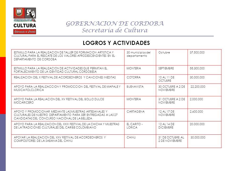 GOBERNACION DE CORDOBA Secretaria de Cultura Además se logro en el 2008 Documental Cultural del departamento de Córdoba para Caracol Internacional con influencia en 20 países.
