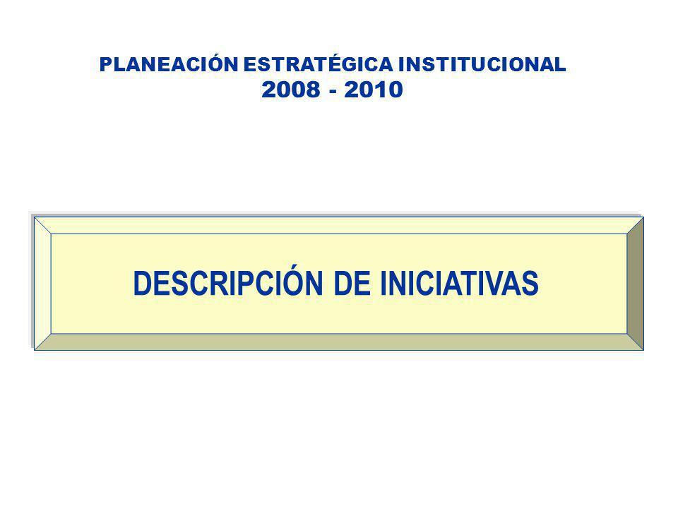PLANEACIÓN ESTRATÉGICA INSTITUCIONAL 2008 - 2010 DESCRIPCIÓN DE INICIATIVAS