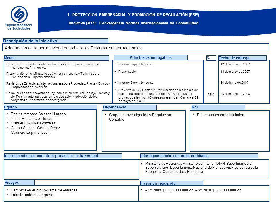EquipoDependenciaRol Descripción de la iniciativa Metas Revisión de Estándares Internacionales sobre grupos económicos e instrumentos financieros.