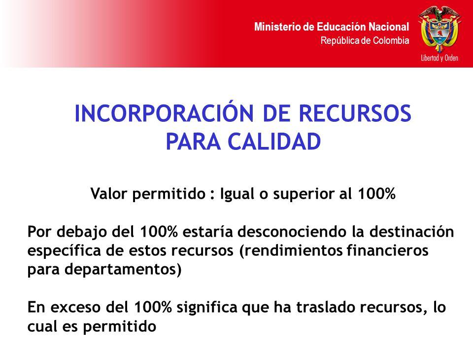 Ministerio de Educación Nacional República de Colombia INCORPORACIÓN DE RECURSOS PARA CALIDAD Valor permitido : Igual o superior al 100% Por debajo de