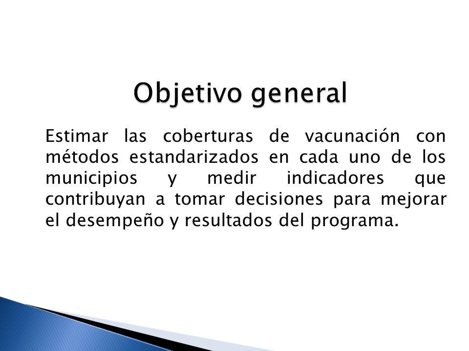 Estimar la cobertura de vacunación con cada biológico en cada uno de los municipios a través de encuesta de cobertura.