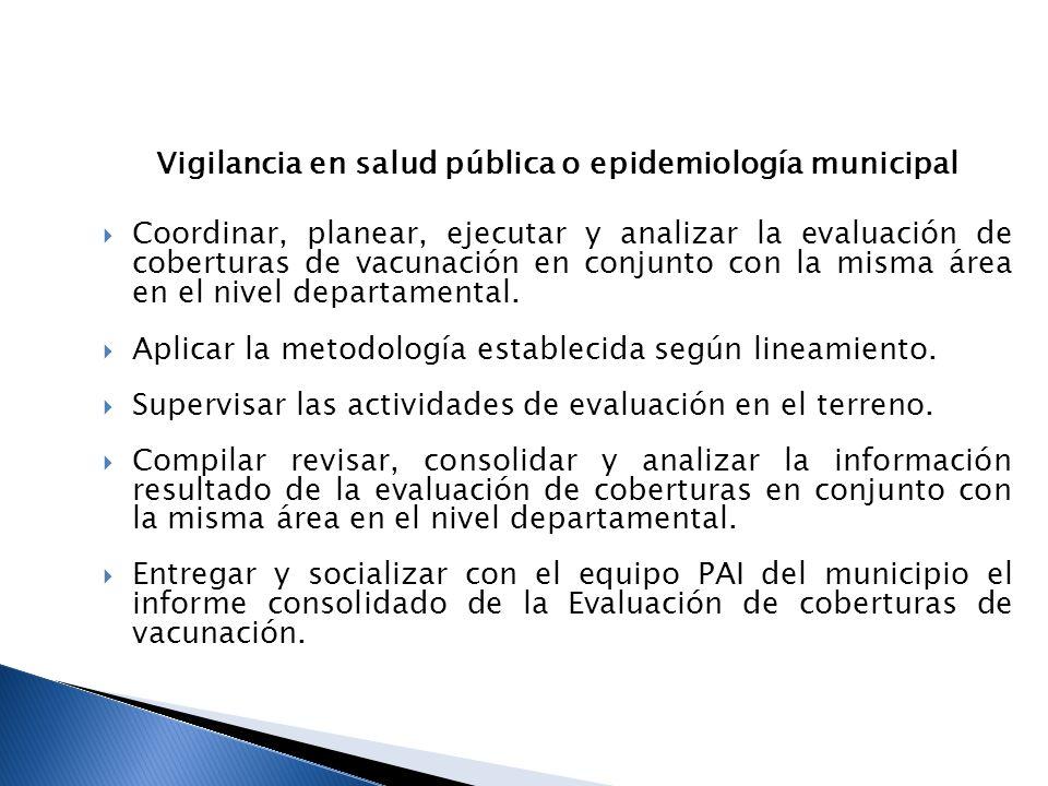 Coordinador o encargado PAI del municipio Coordinar las actividades de evaluación de coberturas con el equipo de vigilancia en salud pública del municipio.