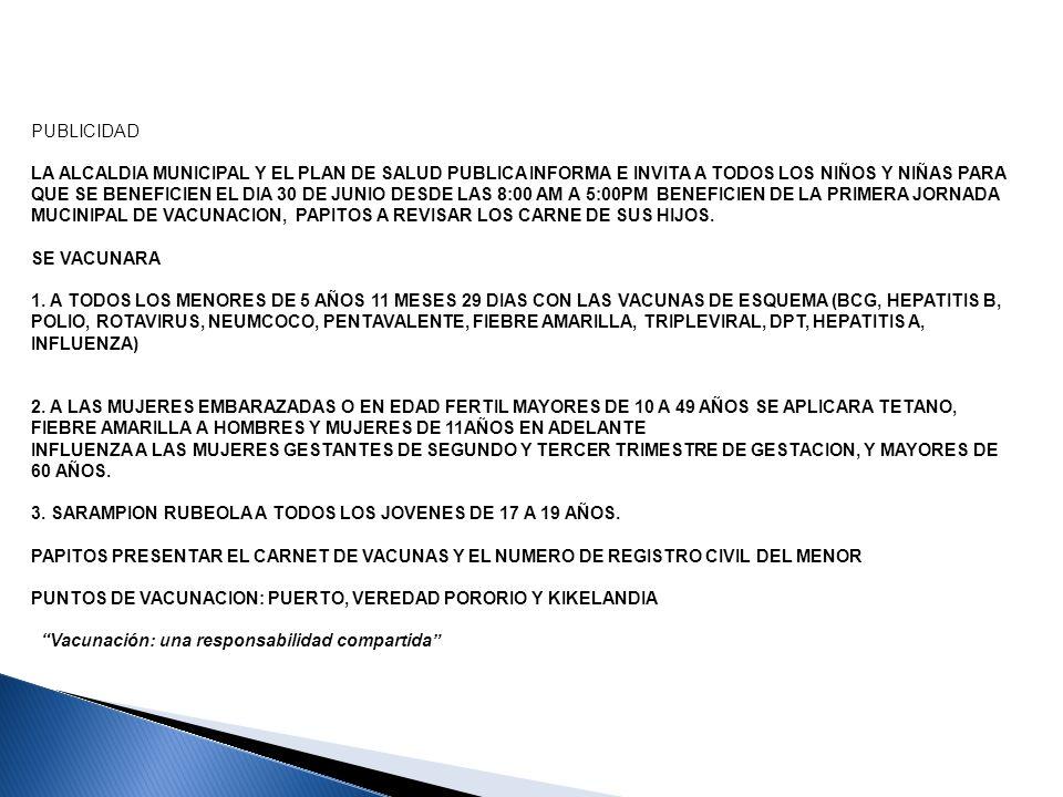 PUERTO CONCORDIA PROGRAMACION JORNADA DE VACUNACION 30 DE JUNIO DEL 2013 UBICACIÓN DE MESAS MESA 1: PUERTO-ALCALDIA VACUNADOR: LUZ MERY RODRIGUEZ ANOTADOR: CONSUELO TORRES MESA 2: VEREDA SAN FERNANDO VACUNADOR: SANTIAGO PRADA ANOTADOR: MERCEDES VILLA MESA 3: VEREDA KIKELANDIA VACUNADOR: JORGE CORTES GONZALES ANOTADOR: NORMA ESCOBAR MESA 3: CENTRO DE ATENCION VACUNADOR: NORMA LIZARAZO ACTIVDAD COORDINADA: POR LA CONTRATISTA YESENIA ZABALA