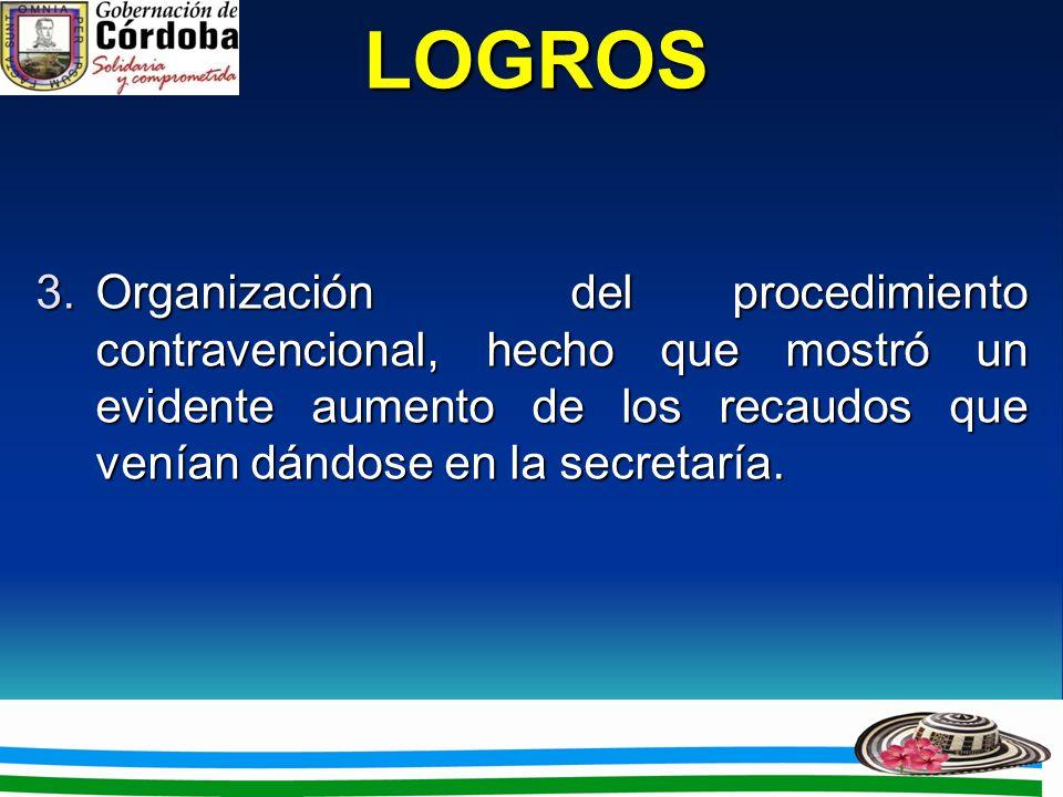 LOGROS 3.Organización del procedimiento contravencional, hecho que mostró un evidente aumento de los recaudos que venían dándose en la secretaría.