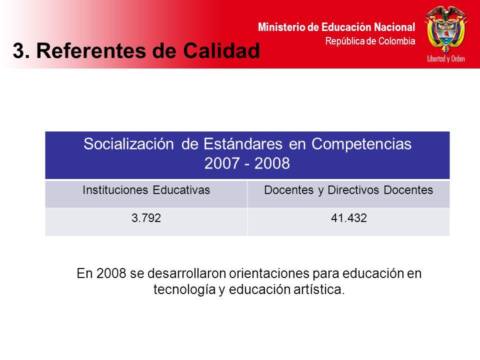 Ministerio de Educación Nacional República de Colombia 3. Referentes de Calidad En 2008 se desarrollaron orientaciones para educación en tecnología y