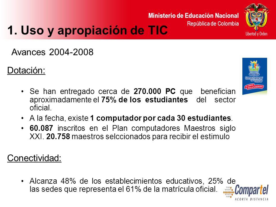 Ministerio de Educación Nacional República de Colombia Dotación: Se han entregado cerca de 270.000 PC que benefician aproximadamente el 75% de los estudiantes del sector oficial.