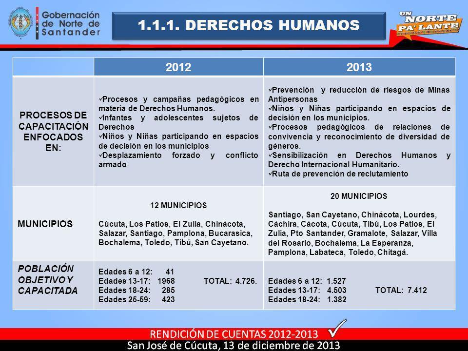 1.1.1. DERECHOS HUMANOS 20122013 PROCESOS DE CAPACITACIÓN ENFOCADOS EN: Procesos y campañas pedagógicos en materia de Derechos Humanos. Infantes y ado