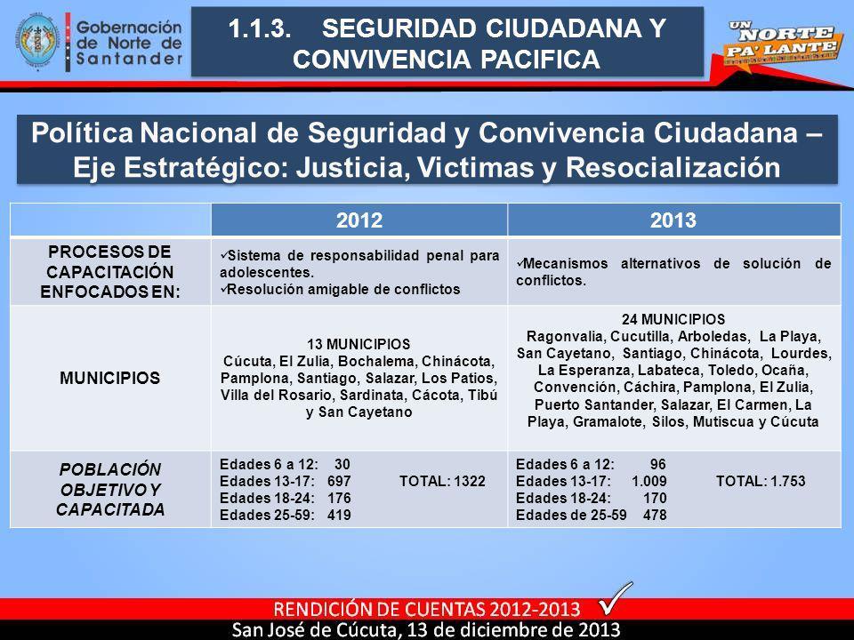 1.1.3. SEGURIDAD CIUDADANA Y CONVIVENCIA PACIFICA 20122013 PROCESOS DE CAPACITACIÓN ENFOCADOS EN: Sistema de responsabilidad penal para adolescentes.
