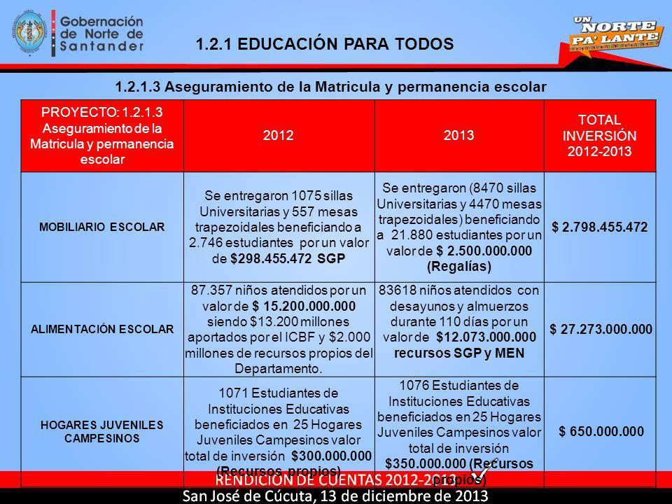 PROYECTO: 1.2.1.3 Aseguramiento de la Matricula y permanencia escolar 20122013 TOTAL INVERSIÓN 2012-2013 MOBILIARIO ESCOLAR Se entregaron 1075 sillas