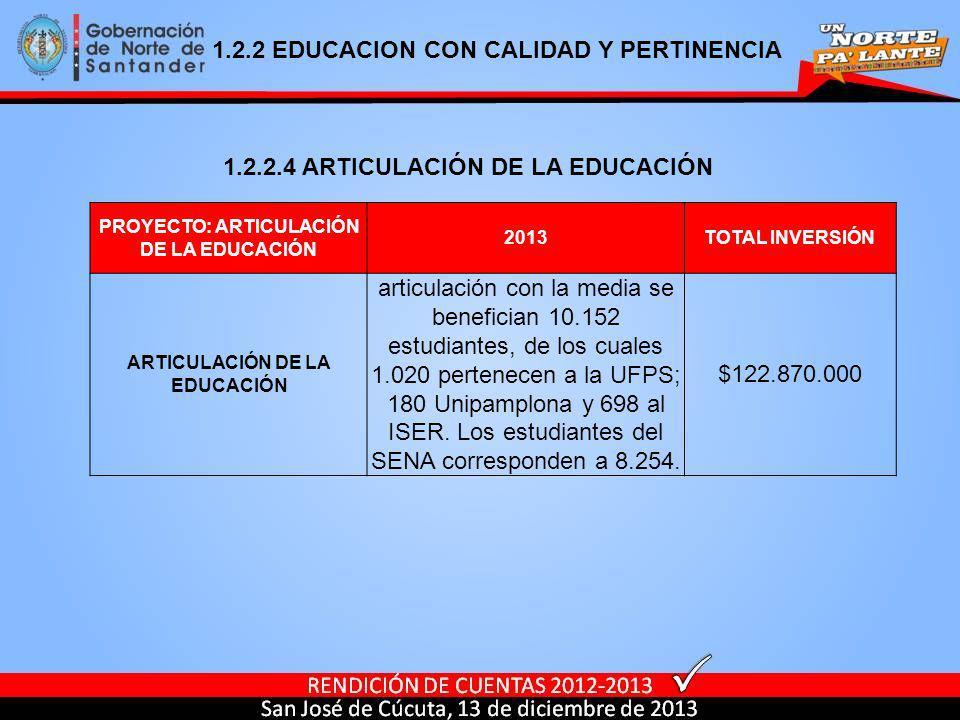 PROYECTO: ARTICULACIÓN DE LA EDUCACIÓN 2013TOTAL INVERSIÓN ARTICULACIÓN DE LA EDUCACIÓN articulación con la media se benefician 10.152 estudiantes, de