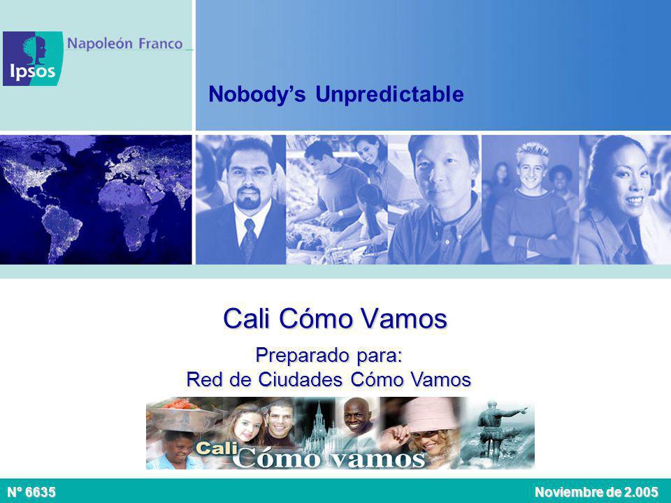 Cali Cómo Vamos Preparado para: Red de Ciudades Cómo Vamos N° 6635 Noviembre de 2.005 Nobodys Unpredictable