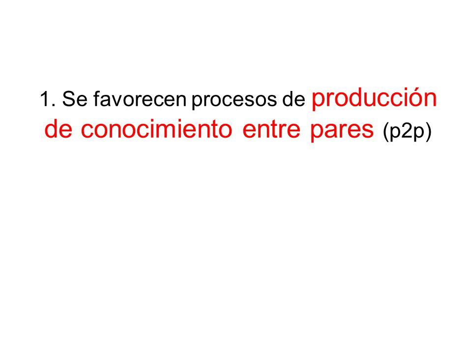 1. Se favorecen procesos de producción de conocimiento entre pares (p2p)